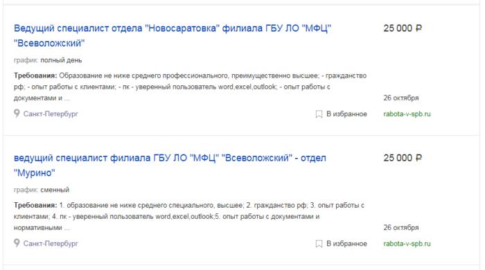 вакансии МФЦ в СПб