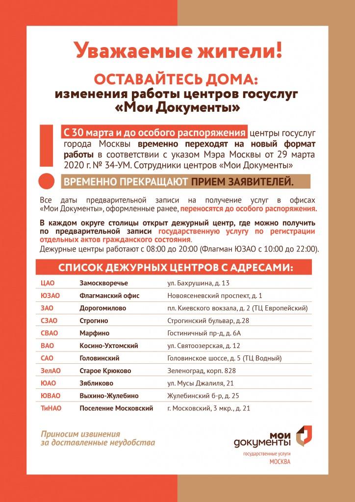 Особый режим МФЦ в Москве